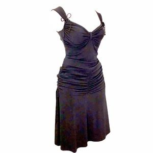 Black Ruched Accent Bodycon w Flare Skirt Dress